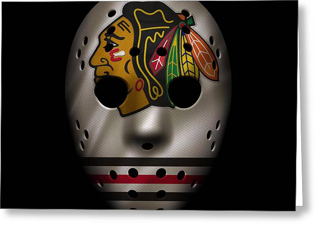 Goalie Greeting Cards - Blackhawks Jersey Mask Greeting Card by Joe Hamilton