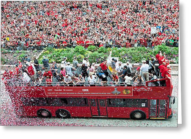 Blackhawks Parade Bus Players Greeting Card by Curtiss Messer