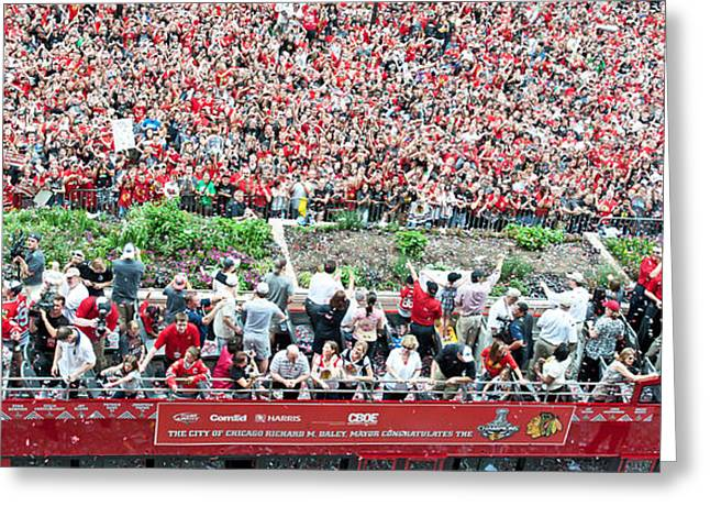 Magnificent Mile Greeting Cards - Blackhawks Parade Bus Stanley Cup Greeting Card by Curtiss Messer