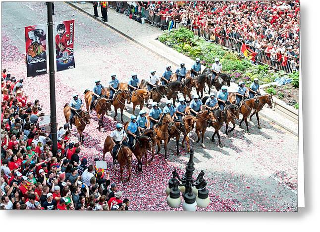 Magnificent Mile Greeting Cards - Blackhawks Parade Mtd Police Greeting Card by Curtiss Messer