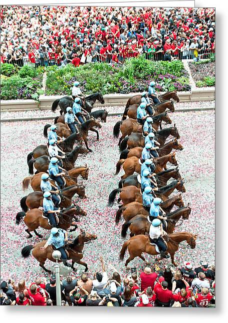 Magnificent Mile Greeting Cards - Blackhawks Parade Mtd Police Line Greeting Card by Curtiss Messer