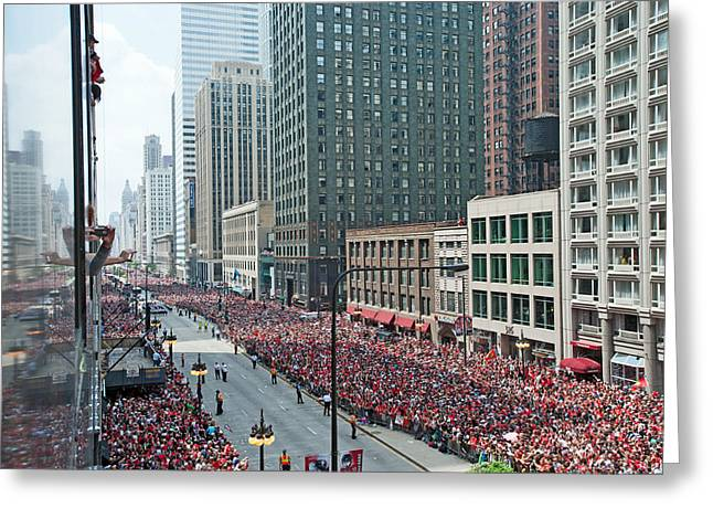 Magnificent Mile Greeting Cards - Blackhawks Parade Start Greeting Card by Curtiss Messer