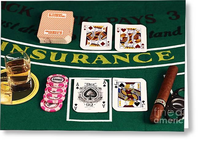 Photo Art Gallery Greeting Cards - Blackjack Greeting Card by John Rizzuto