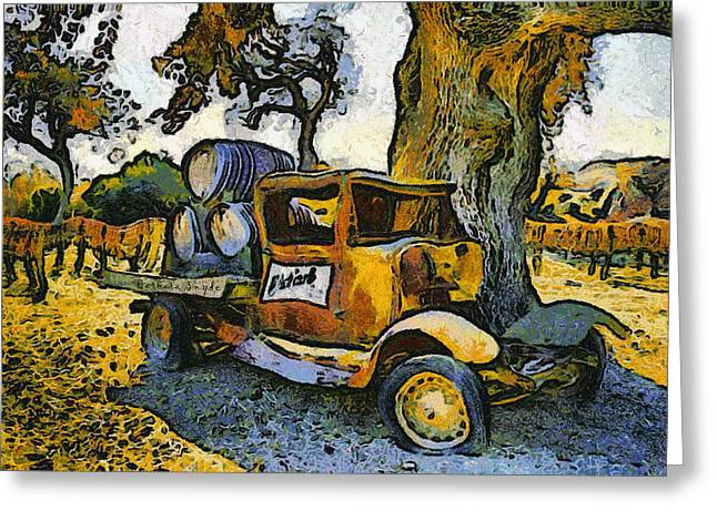 Winery Photography Greeting Cards - Blackjack Winery Truck Santa Ynez California Greeting Card by Barbara Snyder