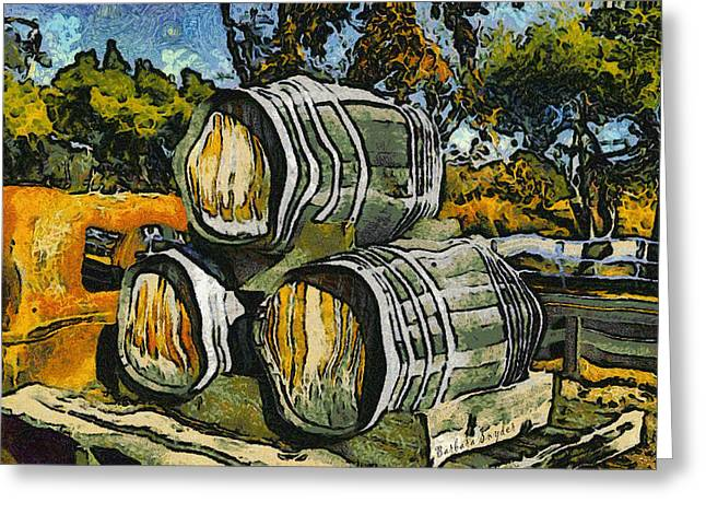 Win Greeting Cards - Blackjack Winery Wine Barrels Greeting Card by Barbara Snyder