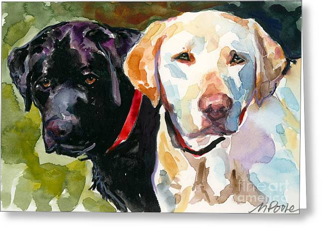 Labrador Greeting Cards - Blacklight Greeting Card by Molly Poole