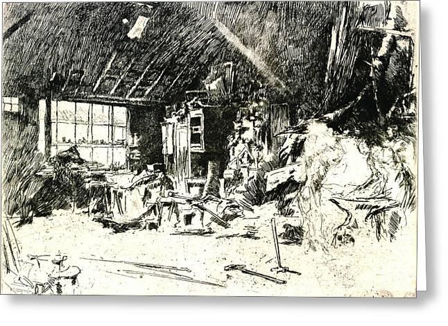 Blacksmith 1880 Greeting Card by Padre Art