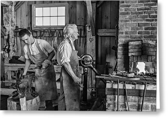 Antique Ironwork Greeting Cards - Blacksmith and Apprentice 2 bw Greeting Card by Steve Harrington