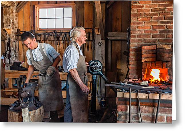 Antique Ironwork Greeting Cards - Blacksmith and Apprentice 2 Greeting Card by Steve Harrington