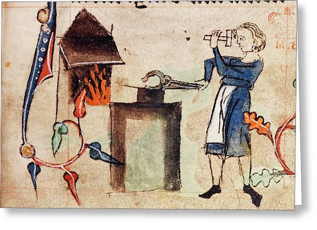 Blacksmith At Work Greeting Card by British Library