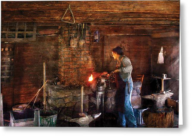 Metal Worker Greeting Cards - Blacksmith - Cooking with the Smiths  Greeting Card by Mike Savad