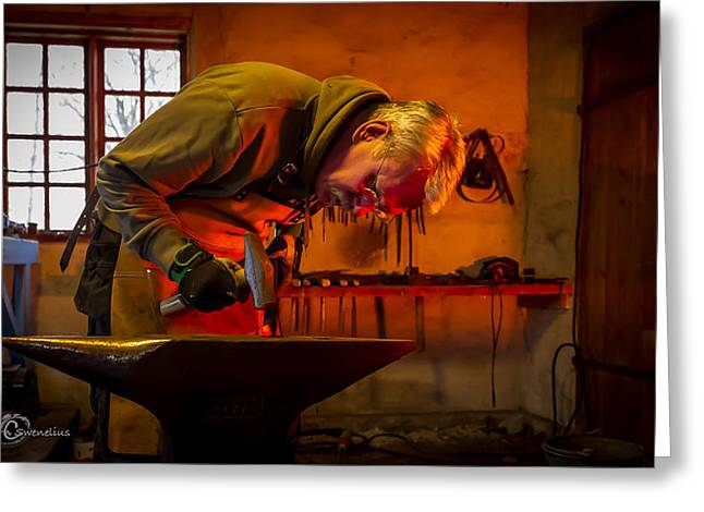 Log Cabins Greeting Cards - Blacksmith in Torresta Greeting Card by Torbjorn Swenelius