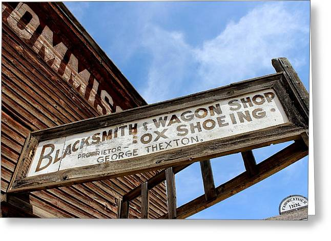 False Front Buildings Greeting Cards - Blacksmith Shop Greeting Card by Mark Eisenbeil