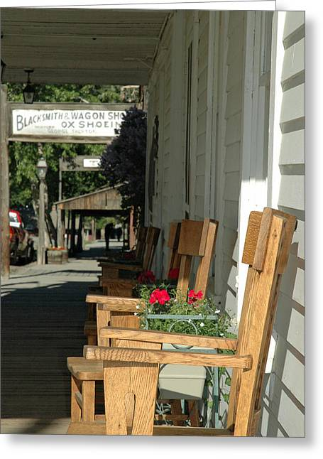 Gold Trout Greeting Cards - Blacksmith Shop on the Boardwalk of Virginia City Montana Greeting Card by Bruce Gourley