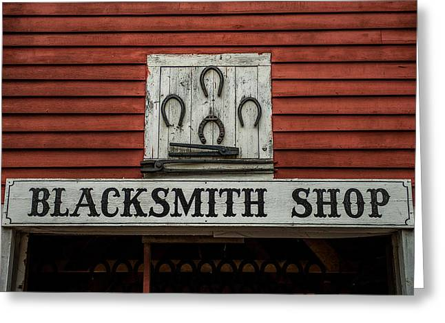 Farrier Greeting Cards - Blacksmith Shop Sign Greeting Card by Paul Freidlund