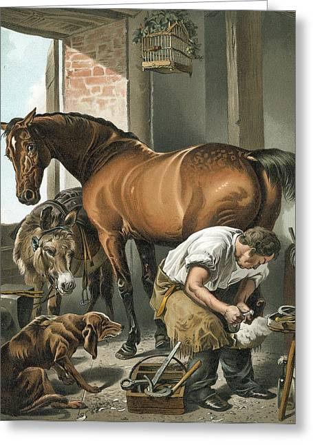 Sentimental Greeting Cards - Blacksmith Greeting Card by Sir Edwin Landseer