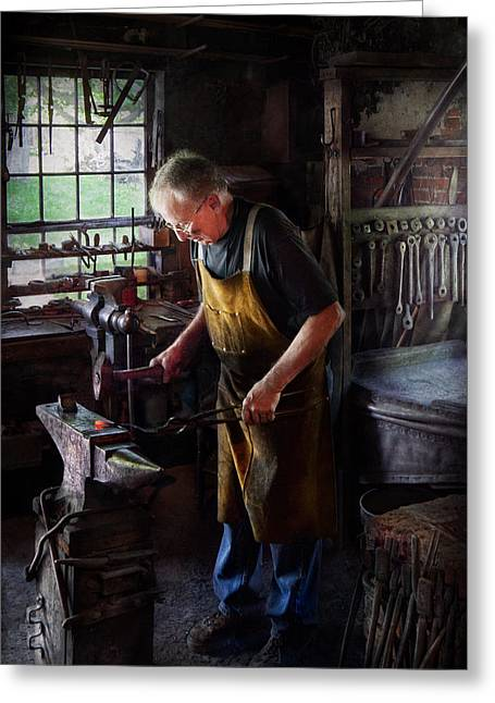 Blacksmiths Greeting Cards - Blacksmith - Starting with a bang  Greeting Card by Mike Savad