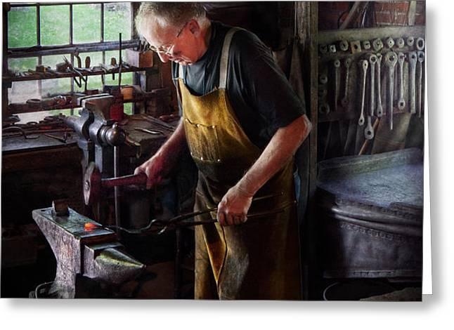 Blacksmith - Starting with a bang  Greeting Card by Mike Savad