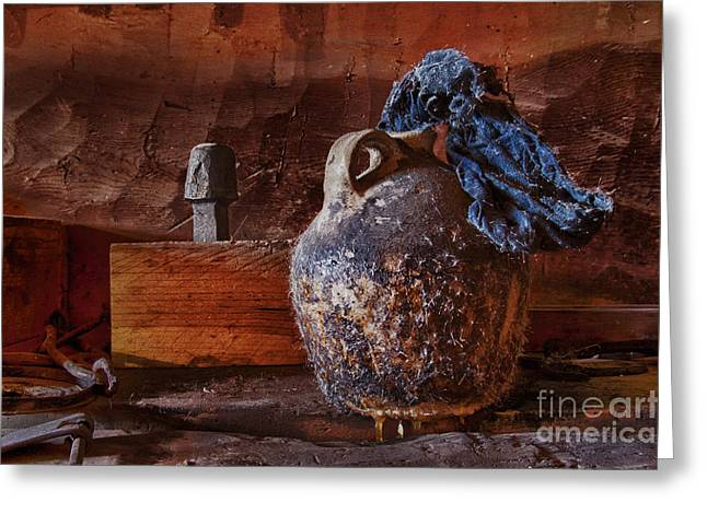 Gaines Greeting Cards - Blacksmith Tallow Jug Greeting Card by Robert Gaines