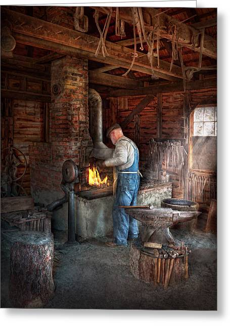 Overalls Greeting Cards - Blacksmith - The importance of the Blacksmith Greeting Card by Mike Savad
