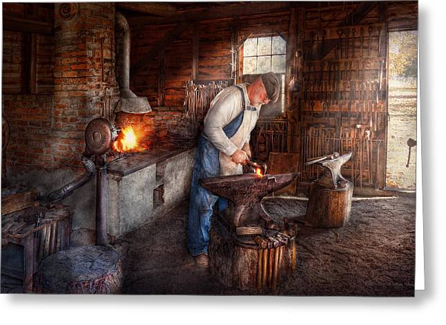Blacksmiths Greeting Cards - Blacksmith - The Smith Greeting Card by Mike Savad