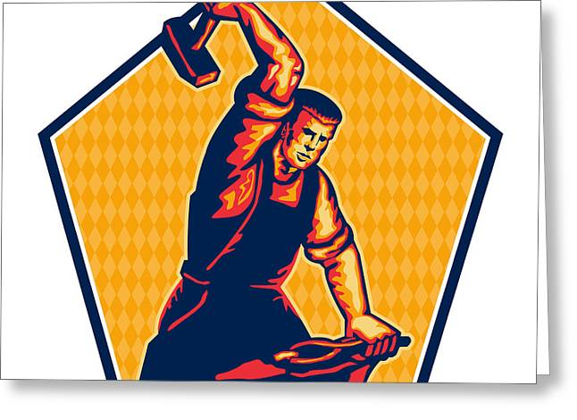 Metal Worker Greeting Cards - Blacksmith Worker Striking Sledgehammer Anvil Retro Greeting Card by Aloysius Patrimonio