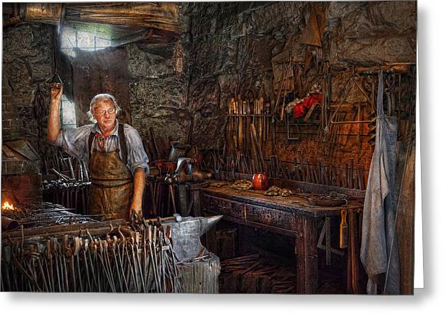Apron Greeting Cards - Blacksmith - Working the forge  Greeting Card by Mike Savad