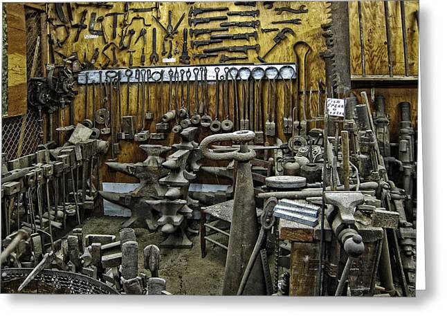 Jackhammer Greeting Cards - BLACKSMITH WORKS - 19th century Greeting Card by Daniel Hagerman
