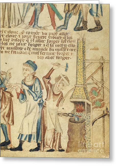 Bible Greeting Cards - Blacksmiths Wife Forging Nails Greeting Card by British Library