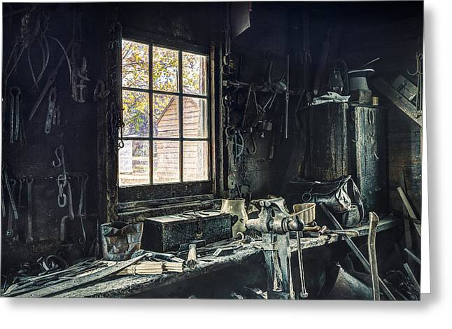 Workspace Greeting Cards - Blacksmiths Workbench - One October Afternoon Greeting Card by Gary Heller