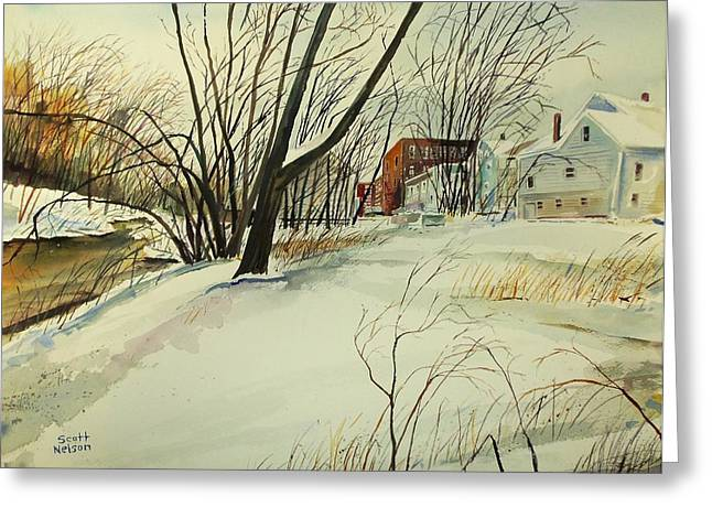 Cartoonist Greeting Cards - Blackstone River Snow  Greeting Card by Scott Nelson