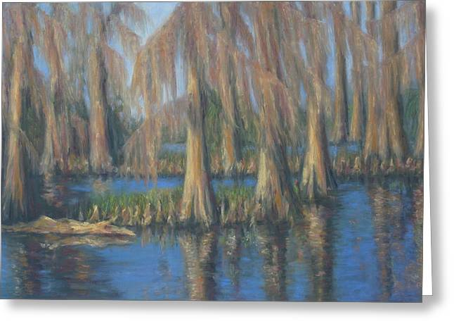 Moss Pastels Greeting Cards - Blackwater Blue at Magnolia Gardens Greeting Card by Pamela Poole