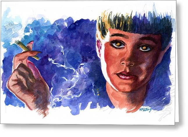 Sean Paintings Greeting Cards - Bladerunner Rachael Greeting Card by Ken Meyer jr