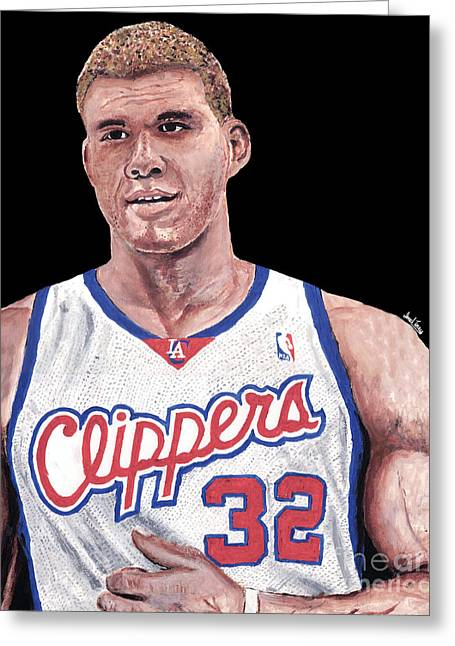 Dunking Paintings Greeting Cards - Blake Griffin Greeting Card by Israel Torres