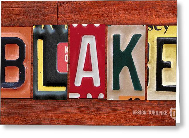 Blake License Plate Name Sign Fun Kid Room Decor Greeting Card by Design Turnpike