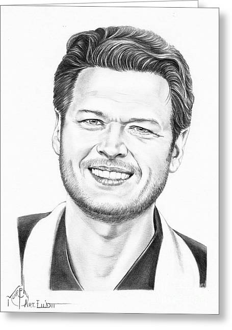 Award Drawings Greeting Cards - Blake Shelton Greeting Card by Murphy Elliott