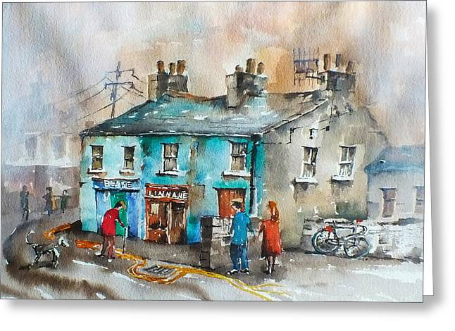 Ennistymon Greeting Card featuring the painting Blakes Corner Ennistymon Clare by Val Byrne