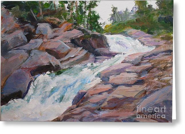 Park Scene Paintings Greeting Cards - Blakiston Falls Greeting Card by Mohamed Hirji