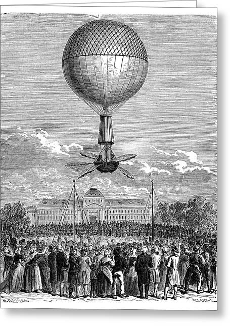 Blanchard's First Balloon Flight Greeting Card by Science Photo Library