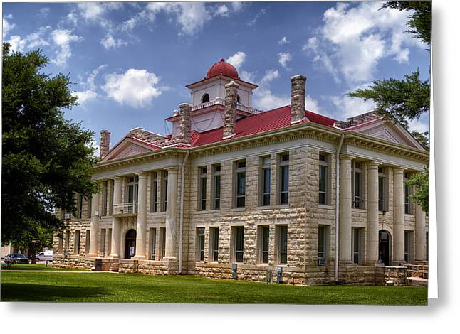 Historical Buildings Greeting Cards - Blanco County Courthouse Greeting Card by Joan Carroll