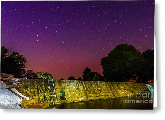 Blanco River Dam At Night - Texas Hill Country Blanco Texas Greeting Card by Silvio Ligutti