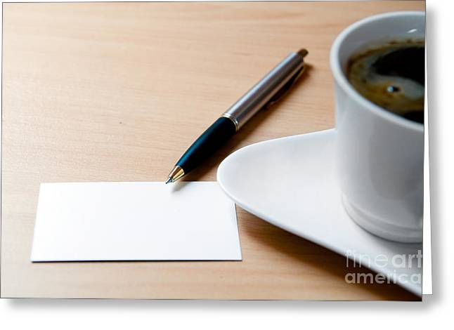 Blank Paper Greeting Cards - Blank card and a cup of coffee Greeting Card by Michal Bednarek