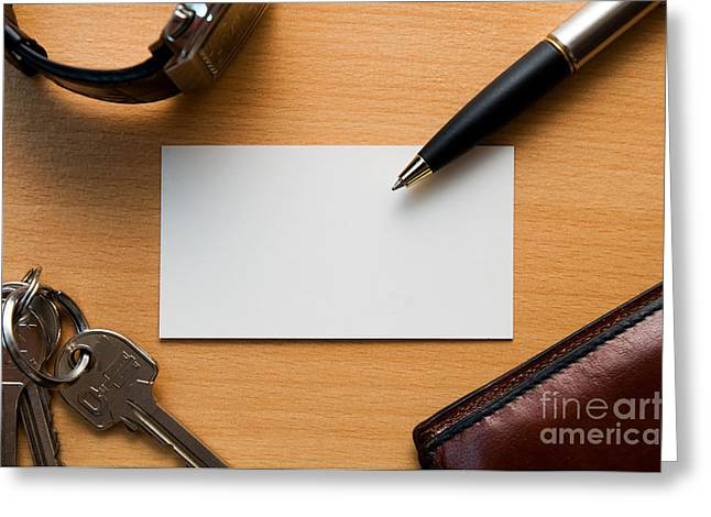 Blank Paper Greeting Cards - Blank card in business workplace Greeting Card by Michal Bednarek
