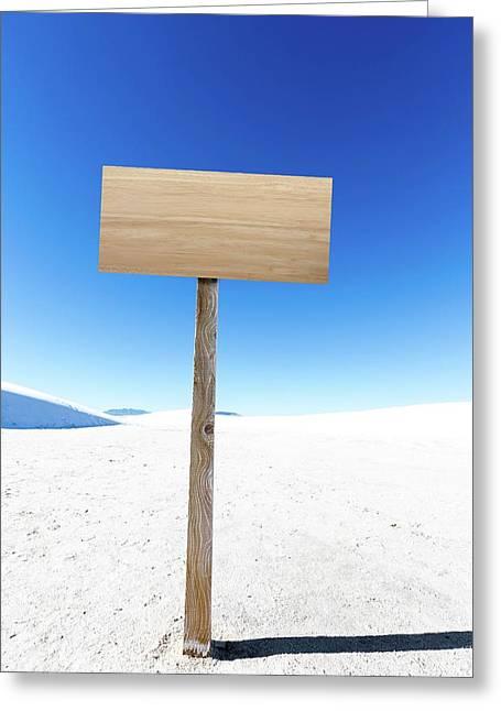 Blank Sign In Desert Greeting Card by Wladimir Bulgar