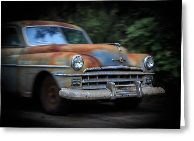 Rusted Cars Mixed Media Greeting Cards - Blast from the Past1950 Chrysler Windsor Greeting Card by Kathleen Scanlan