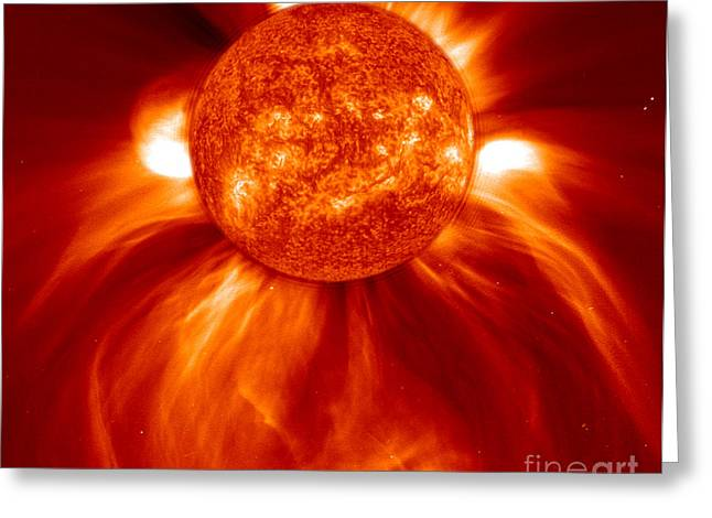 Ejection Greeting Cards - Blasting Coronal Mass Ejection, 2002 Greeting Card by Science Source