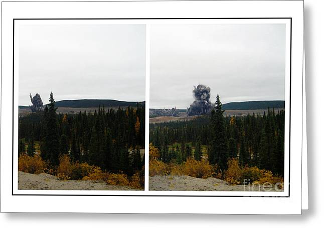Mining Photos Digital Greeting Cards - Blasting Panorama - Destruction Greeting Card by Barbara Griffin
