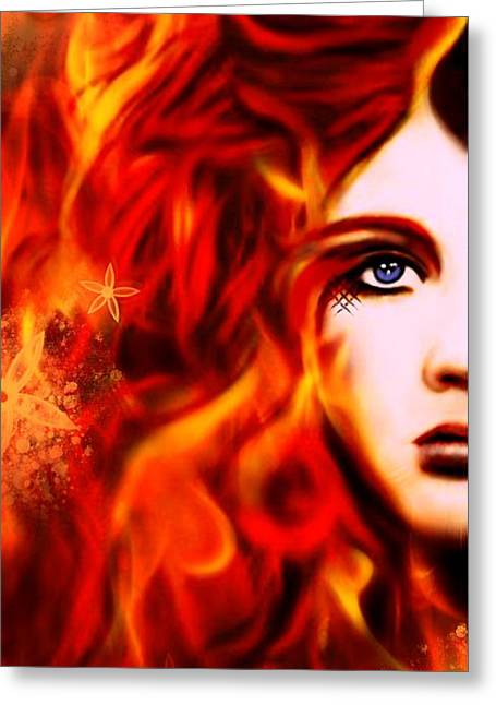Burning Mixed Media Greeting Cards - Blaze Greeting Card by Sheena Pike