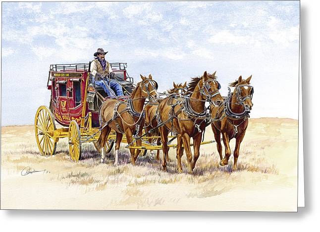 Stagecoach Greeting Cards - Blazing a Trail Across the Prairie Greeting Card by Don Dane