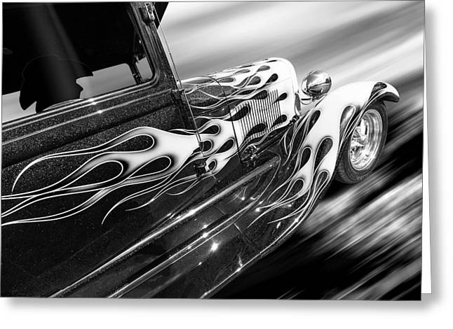 Monochrome Hot Rod Greeting Cards - Blazing A Trail - Ford Model A 1929 in Black and White Greeting Card by Gill Billington